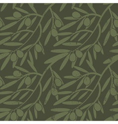 Seamless pattern with olive branches retro vector