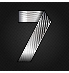 Number metal chrome ribbon - 7 - seven vector