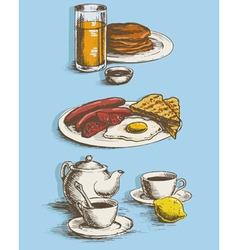 Food pictures for menu breakfast vector