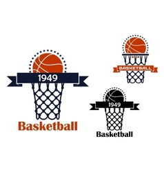 Basketball sport game emblem or symbol vector image