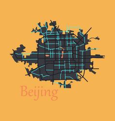 beijing city map flat vector image vector image