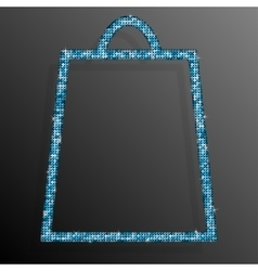 Blue Sequins Shopping Bag Glitter Sale offer vector image