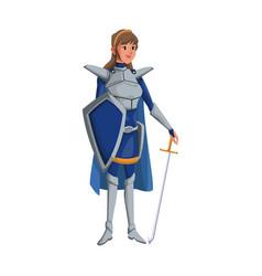 Cartoon warrior princess woman in costume with vector