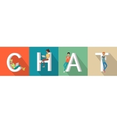 Chat conceptual flat style web banner vector