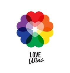 circle shape rainbow six color heart logo with vector image