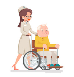 cute doctor attendant nurse elderly caring vector image vector image
