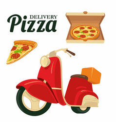 Delivering pizza on a red moped pizza isolated vector