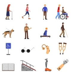 Disabled handicapped people flat icons set vector