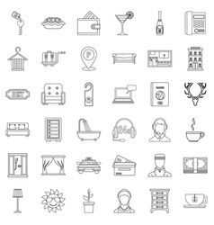 Doorman icons set outline style vector