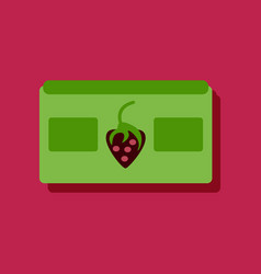 Flat icon design videocassette and strawberry in vector