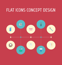 Flat icons equipment radiology stomatology and vector