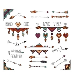 Hand drawn colorful boho tribal elements vector