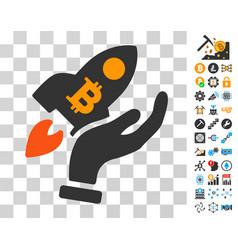 hand launch bitcoin rocket icon with bonus vector image vector image