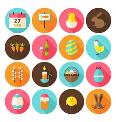 Happy Easter Holiday Circle Icons Set with long vector image vector image