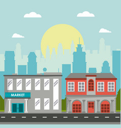 Market commercial building classic city landscape vector