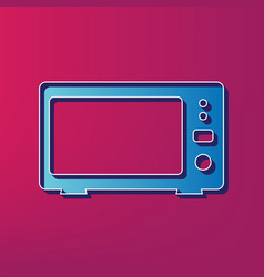 Microwave sign blue 3d vector