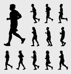 people running silhouettes set vector image