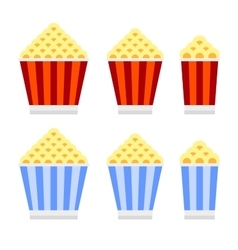 Popcorn Cinema Icon Set Flat Design Style vector image vector image