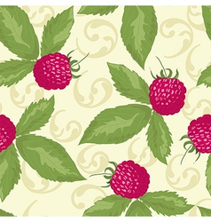 Raspberry seamless pattern with raspberry vector image vector image