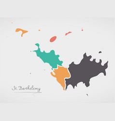 Saint barthelemy map with states and modern round vector