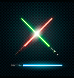 set of realistic light swords crossed sabers vector image vector image