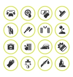 Set round icons of car wash vector