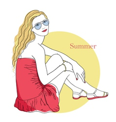 The girl in the red dress and glasses vector