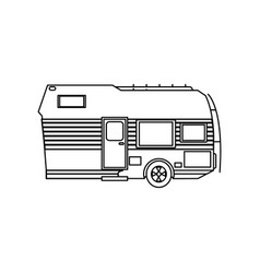travel trailer camping transport cabin outline vector image