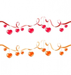 two ribbons with hearts vector image