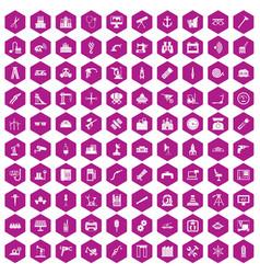 100 equipment icons hexagon violet vector