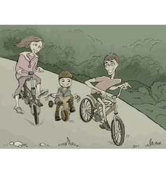 Family on the bikes in the forest vector