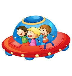 Kids in spaceship vector