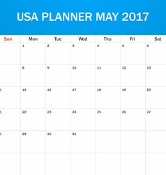 Usa planner blank for may 2017 scheduler agenda or vector