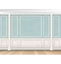 Blue wall with pilasters and white panel vector image