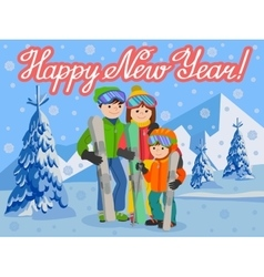 Congratulation card new year with man woman boy vector