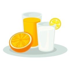 Glass milk and orange juice vector image