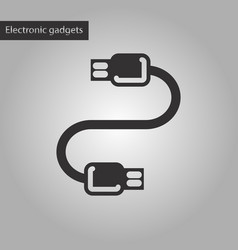 Black and white style icon usb cable vector