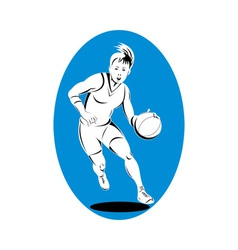 woman basketball player dribbling ball vector image