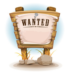 Cartoon wood sign with wanted on torn paper vector