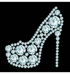 High heels shoe made of diamonds vector