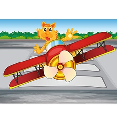 A boastful tiger riding a plane vector