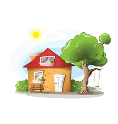 Cartoon house in a warm summer day vector