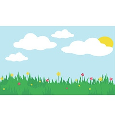 Sunny day field with flowers vector