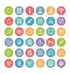 Set of flat round medical icons vector