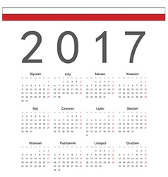 Square polish 2017 year calendar vector