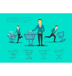 Man businessman suit and tie with basket shopping vector