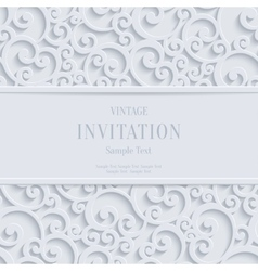 White 3d vintage christmas or invitation vector