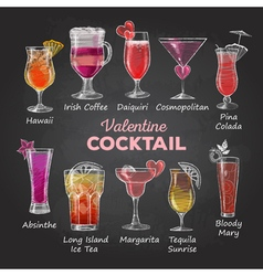 Chalk drawings Valentine cocktail menu vector image
