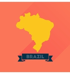 Flat icon with long shadow brazil map vector
