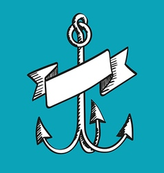 Hand drawn anchor with ribbon vector